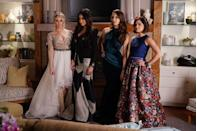 "<p>Hanna and Emily have very different styles, but both looked like queens on prom night. Hanna stunned in a v-neck illusion sleeve gown with a high-low tulle skirt, while Emily channeled an edgier look with a long sleeve black patterned gown. </p><p><a class=""link rapid-noclick-resp"" href=""https://www.amazon.com/Pretty-Little-Liars-Complete-Season/dp/B003Q93YBO?tag=syn-yahoo-20&ascsubtag=%5Bartid%7C10063.g.36197518%5Bsrc%7Cyahoo-us"" rel=""nofollow noopener"" target=""_blank"" data-ylk=""slk:STREAM NOW"">STREAM NOW</a></p>"