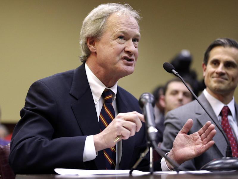 FILE - In this Jan. 15, 2013 file photo, Rhode Island Gov. Lincoln Chafee testifies in support of same-sex marriage before the House Judiciary Committee, at the Statehouse, in Providence, R.I.  Following months of review and debate, the Rhode Island state Senate is set to vote on gay marriage legislation Wednesday afternoon, April 24, 2013. The bill easily passed the House in January. (AP Photo/Steven Senne, File)