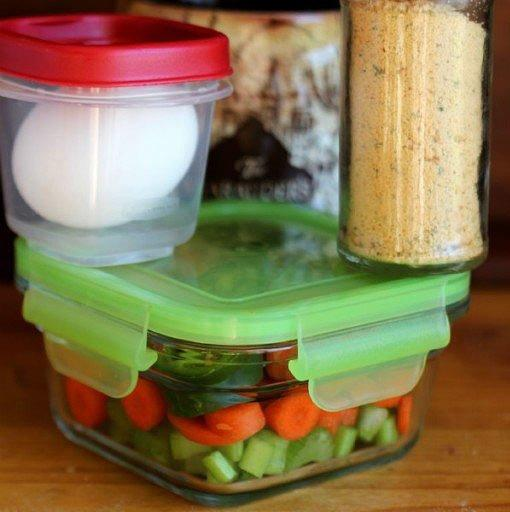 "<p>Put chopped vegetables in a food storage container. Add water and an egg when you get to work, then heat it in the microwave. Lunch doesn't get any easier than this. Also: <a href=""https://www.shape.com/healthy-eating/cooking-ideas/healthy-cooking-tips-soup-recipe-hacks"" target=""_blank"">These healthy hacks will change the way you cook soup</a>.</p> <p><strong>Get the recipe:</strong> <a href=""http://mirlandraskitchen.com/recipe/healthy-mug-soup/"" target=""_blank"">Healthy Mug Soup</a></p>"
