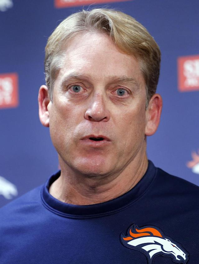 Denver Broncos interim head coach Jack Del Rio, speaks at a news conference after practice at the NFL football team's practice facility in Englewood, Colo., on Monday, Nov. 4, 2013. Del Rio, the defensive coordinator, will serve as head coach while John Fox recovers from heart surgery. (AP Photo/Ed Andrieski, File)
