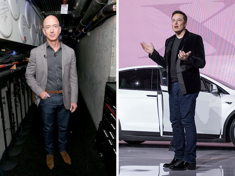 Amazon CEO Jeff Bezos and Tesla co-founder, CEO and product architect Elon Musk. (Photos: Getty)