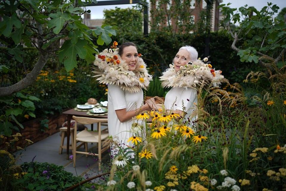 Tara and Valerie Pain in the Parsley box garden (Yui Mok/PA) (PA Wire)