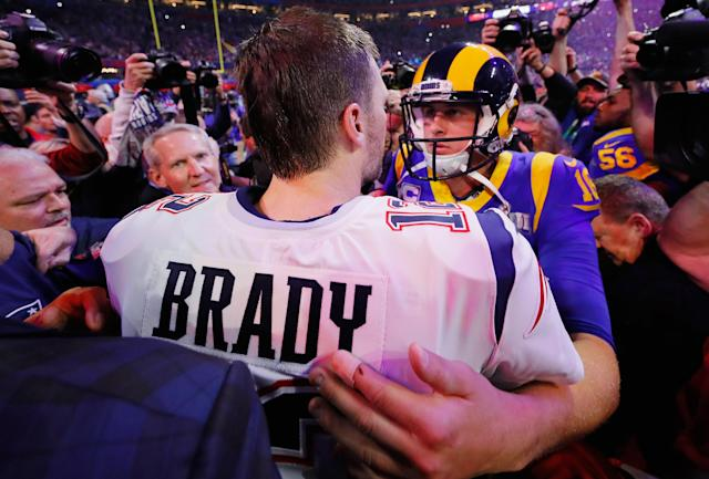 Jared Goff and the Rams lost to the Patriots in Super Bowl LIII, but are the early Super Bowl LIV favorites. (Getty)