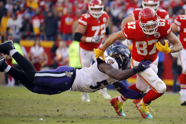<p>Baltimore Ravens linebacker C.J. Mosley (57) tackles Kansas City Chiefs tight end Travis Kelce (87) during the second half of an NFL football game in Kansas City, Mo., Sunday, Dec. 9, 2018. (AP Photo/Charlie Riedel) </p>
