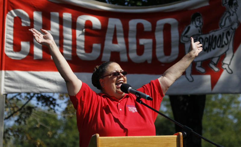 "Karen Lewis, president of the Chicago Teachers Union addresses the crowd during a rally Saturday, Sept. 15, 2012, in Chicago. Lewis reminded that although there is a ""framework"" for an end to their strike, they are still are on strike. (AP Photo/Charles Rex Arbogast)"