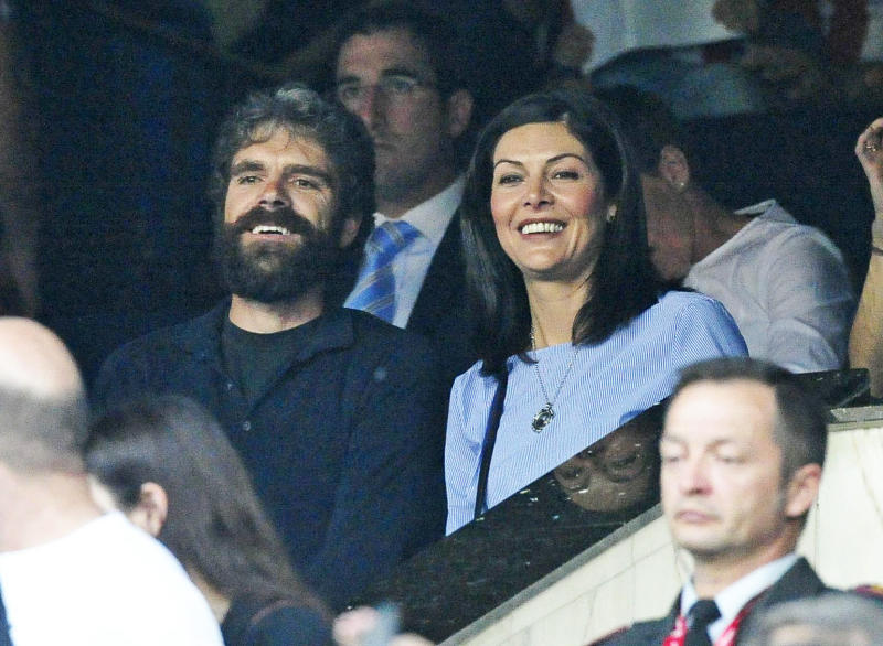 MADRID, SPAIN - APRIL 12: Jose Tomas and his wife Isabel are seen during the Champions League quarter final first leg match between Club Atletico de Madrid and Leicester City on April 12, 2017 in Madrid, Spain. (Photo by Europa Press/Europa Press via Getty Images)