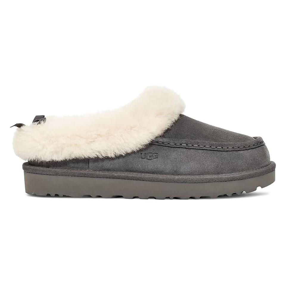 """<p>At the end of a long day, luxurious slippers are in order, and this pair with shearling trim will certainly get the job done. They're completely lined with the brand's signature UGGpure material and even come with a treaded sole in case you end up wearing them outside of the house.</p> <p><strong>To buy:</strong> $70 (was $100); <a href=""""https://click.linksynergy.com/deeplink?id=93xLBvPhAeE&mid=1237&murl=https%3A%2F%2Fshop.nordstrom.com%2Fs%2Fugg-grove-genuine-shearling-trim-slipper-women%2F5319375%2Ffull&u1=RS%2CTheComfiestUGGBootsandSlippersAreUpto35%2525OffatNordstromRightNow%2Cdarganb%2CSHO%2CIMA%2C686204%2C201912%2CI"""" target=""""_blank"""">nordstrom.com</a></p>"""