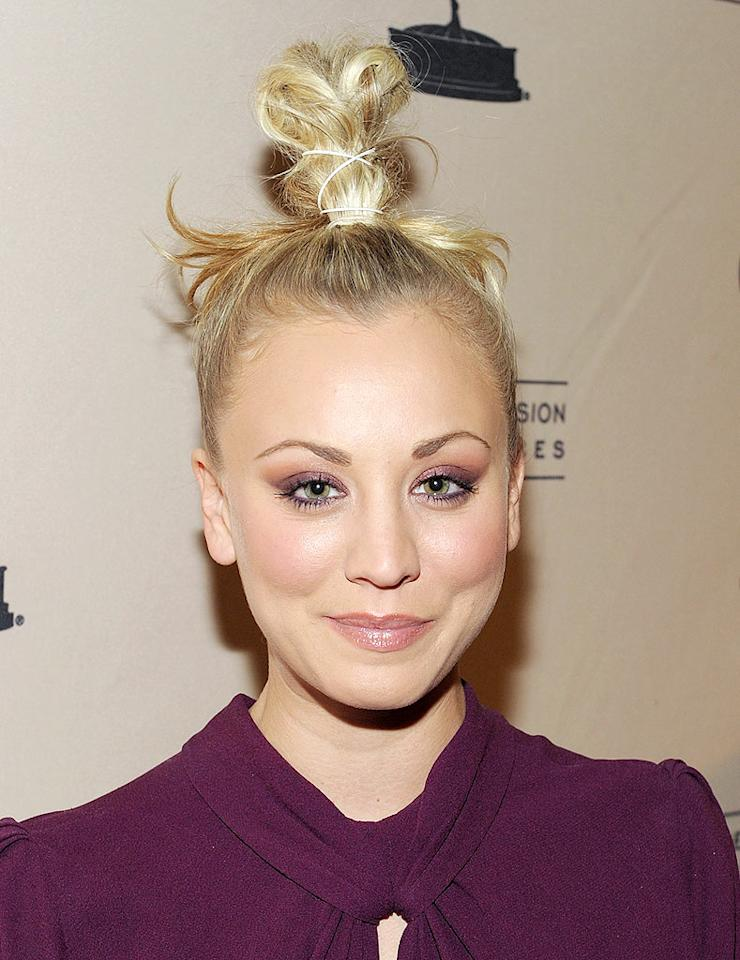"Speaking of hairdon'ts, what the heck is on top of Kaley Cuoco's head? The ""Big Bang Theory"" star's style is anything but bangin'. Mathew Imaging/<a href=""http://www.wireimage.com"" target=""new"">WireImage.com</a> - February 18, 2010"