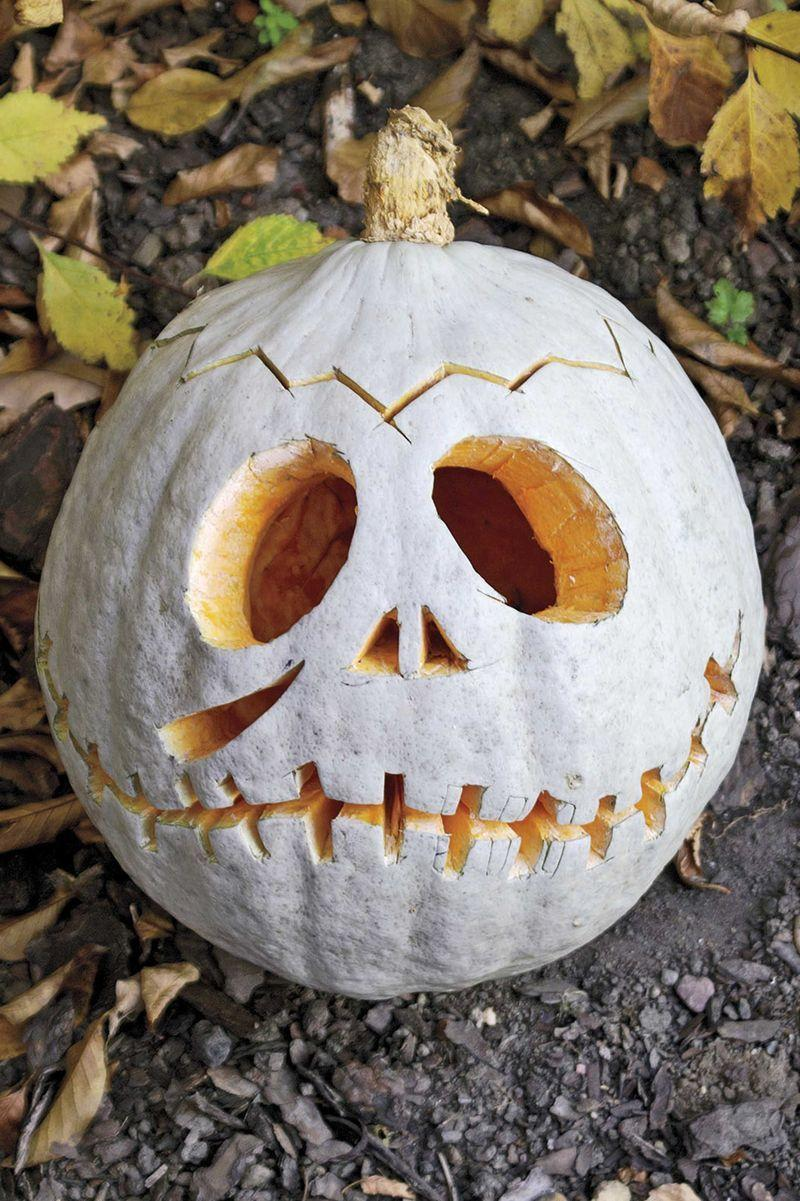 <p>He's part monster, part Halloween mascot, but all smiles when you starts with a coat of white paint before carving out the zipper mouth, big round eyes, and jagged scar across his forehead. </p>