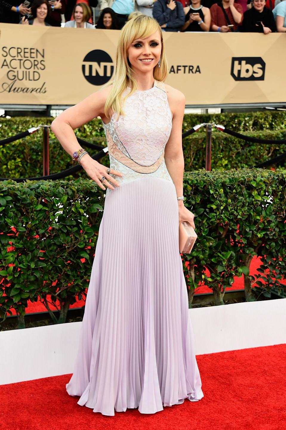 """<p>A nominee for <i>Lizzie Borden</i>, who described her role as a murderous young woman """"fun,"""" was coming out of SoulCycle class when she found out she was up for the award. At the show, she stunned in a lilac gown with pastel sheer panels from Christopher Kane. </p>"""
