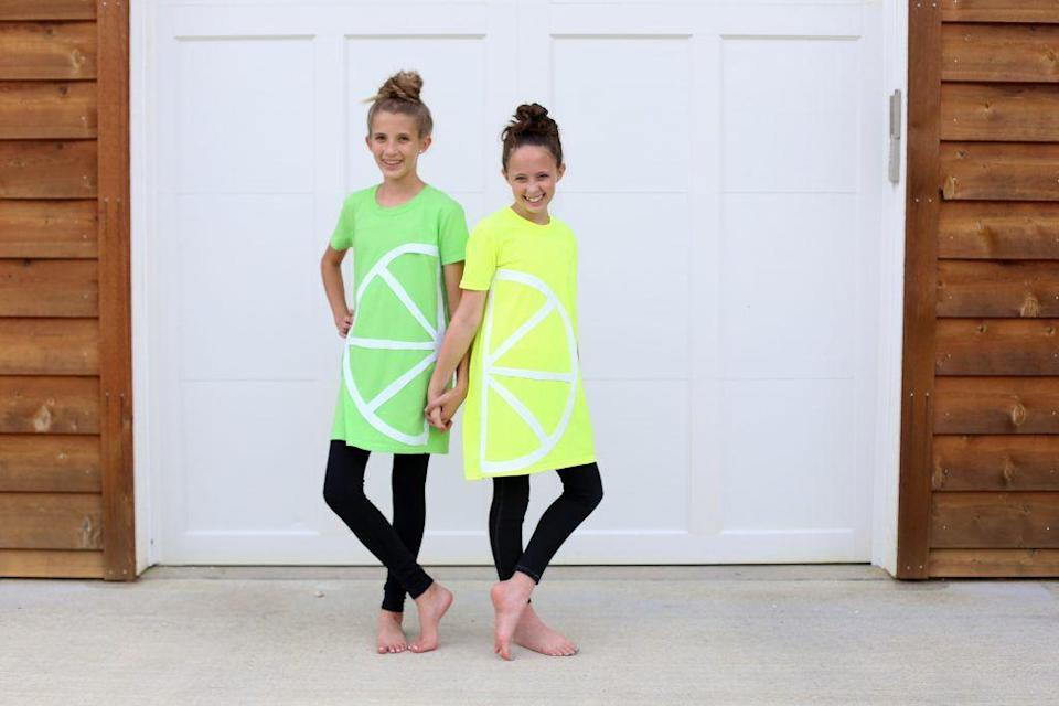 """<p>Because when things get sour, there's no one better than a sister to have by your side.</p><p><strong>Get the tutorial at <a href=""""https://sugarbeecrafts.com/no-sew-lemon-lime-costume"""" rel=""""nofollow noopener"""" target=""""_blank"""" data-ylk=""""slk:Sugar Bee Crafts"""" class=""""link rapid-noclick-resp"""">Sugar Bee Crafts</a>.</strong></p><p><a class=""""link rapid-noclick-resp"""" href=""""https://www.amazon.com/Next-Level-N6210-T-Shirt-Green-Large/dp/B07D2LWH4N?tag=syn-yahoo-20&ascsubtag=%5Bartid%7C10050.g.21530121%5Bsrc%7Cyahoo-us"""" rel=""""nofollow noopener"""" target=""""_blank"""" data-ylk=""""slk:SHOP T-SHIRT"""">SHOP T-SHIRT</a><br></p>"""