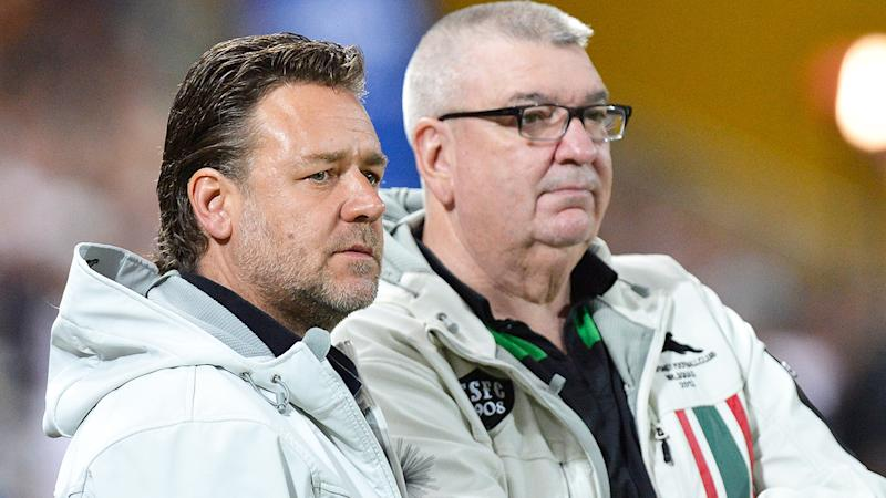 Russell Crowe and Shane Richardson, pictured here at a South Sydney game in 2016.