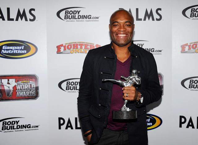 LAS VEGAS, NV - NOVEMBER 30: Mixed martial artist Anderson Silva holds the Knockout of the Year award for his victory over Vitor Belfort at UFC 126 at the Fighters Only World Mixed Martial Arts Awards 2011 at The Pearl concert theater at the Palms Casino Resort November 30, 2011 in Las Vegas, Nevada. (Photo by Ethan Miller/Getty Images)