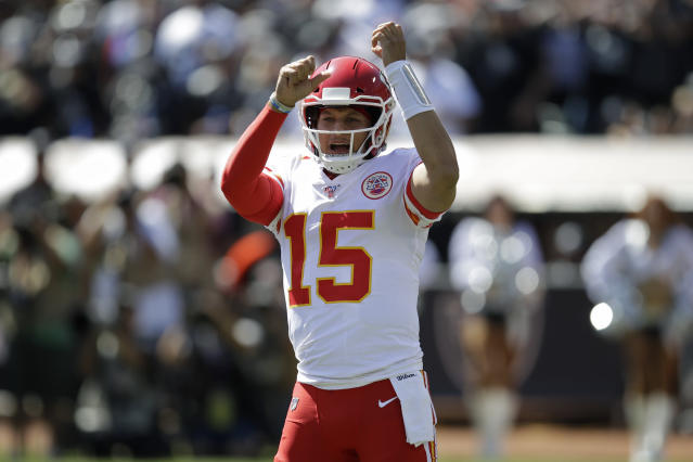 Kansas City Chiefs quarterback Patrick Mahomes (15) threw four touchdowns in the first half against Oakland. (AP)