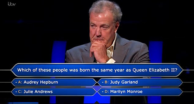 Jeremy Clarkson on Who Wants to Be a Millionaire on Queen Elizabeth Marilyn Monroe question.