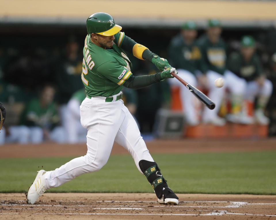 Oakland Athletics' Ramon Laureano c connects for a home run off Chicago White Sox's Ivan Nova in the second inning of a baseball game Friday, July 12, 2019, in Oakland, Calif. (AP Photo/Ben Margot)