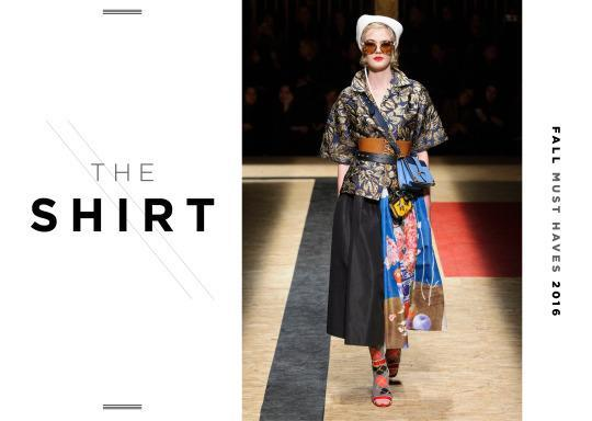 <p>This fall, shirting should fun (read: colorful and printed). Prada mixed fabrics and textures on the runway and tied them all together with a corset. A loud printed shirt should be paired with a pleated skirt or a pencil skirt with an extra wide belt—or if you are brave, try a white Prada corset.</p>