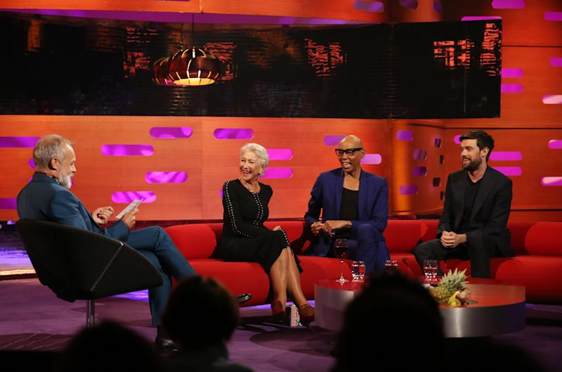 (left to right) Host Graham Norton, Helen Mirren, RuPaul and Jack Whitehall during the filming for the Graham Norton Show at BBC Studioworks 6 Television Centre, Wood Lane, London, to be aired on BBC One on Friday evening. (Photo by Isabel Infantes/PA Images via Getty Images)