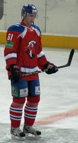 Erik Christensen on the ice for Lev Prague during a KHL game. (#NickInEurope)