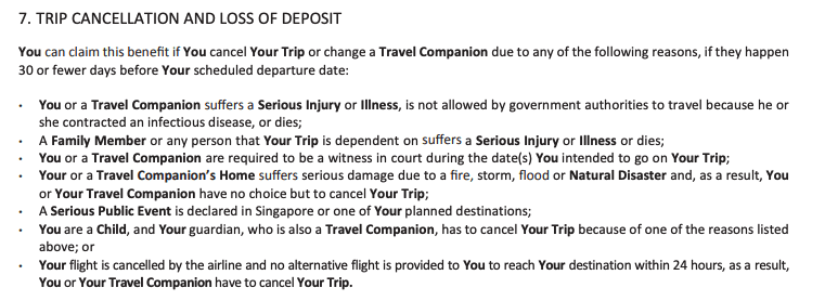 This is a screenshot of an insurer who will accept travel cancellation claims due to flight cancellations caused by the airline