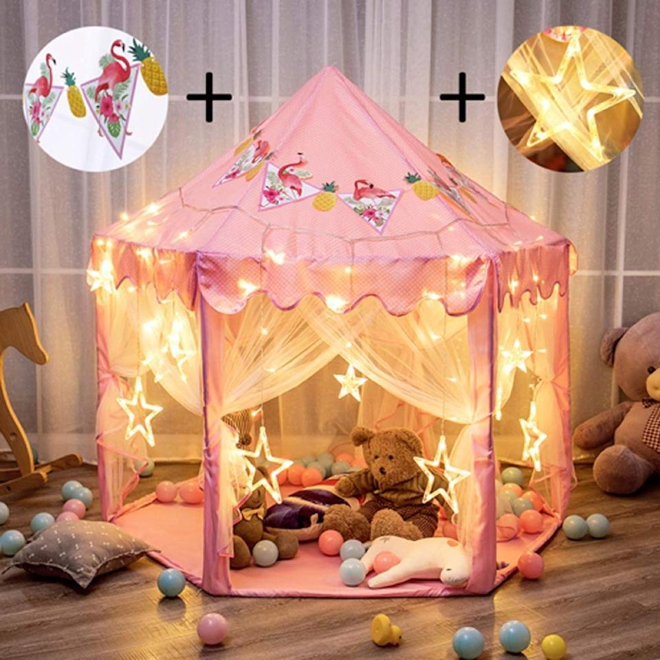 "$30; buy now at <a href=""https://amzn.to/2YzMWUx"" target=""_blank"">Amazon</a>  Who says stuffed animal tea parties have to be indoor-only affairs? This adorable outdoor play tent, which comes complete with an adorable set of LED lights, is the perfect spot for some tea al fresco."