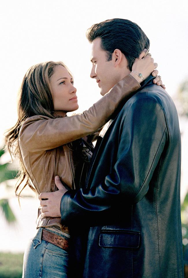 """<a href=""""http://movies.yahoo.com/movie/contributor/1800018969"""">BEN AFFLECK</a> & <a href=""""http://movies.yahoo.com/movie/contributor/1800023864"""">JENNIFER LOPEZ</a>  MOVIE: <a href=""""http://movies.yahoo.com/movie/1808404170/info"""">Gigli</a> (2003)   With the tabloids hyperventilating about """"Bennifer,"""" the studios pressured director Martin Brest to turn his crime drama into a romantic comedy. The result was one of the biggest failures in Hollywood history. The couple's on-screen chemistry was non-existent, and movie's failure was reportedly one of the reasons the couple split in 2004."""