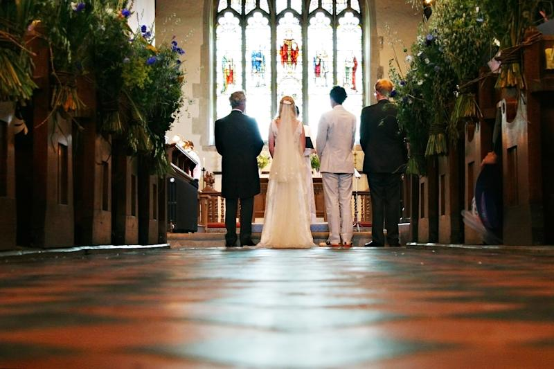 The Church of England has issued a statement limiting wedding guests to five. (Getty Images)