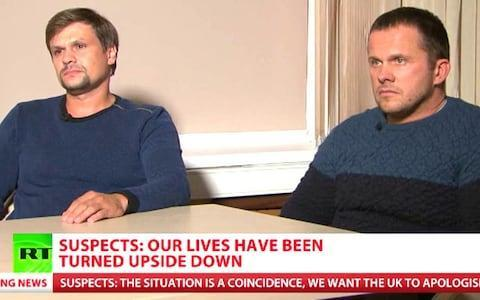 <span>Video grab taken from RT of Russian Nationals Ruslan Boshirov (left) and Alexander Petrov, the two suspects in the poisoning of an ex-Russian spy Sergei Skripal and his daughter Yulia</span> <span>Credit: RT </span>