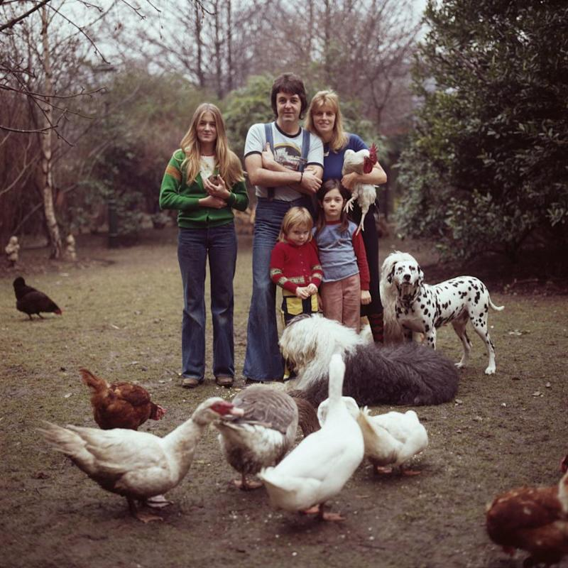 From left: Heather, Paul and Linda McCartney, with Stella, aged four, and Mary, six, at home in London on 4 April 1976.
