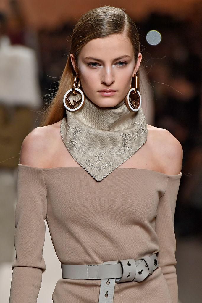 <p>White and gold hoop earrings at the Fendi FW18 show. (Photo: Getty Images) </p>