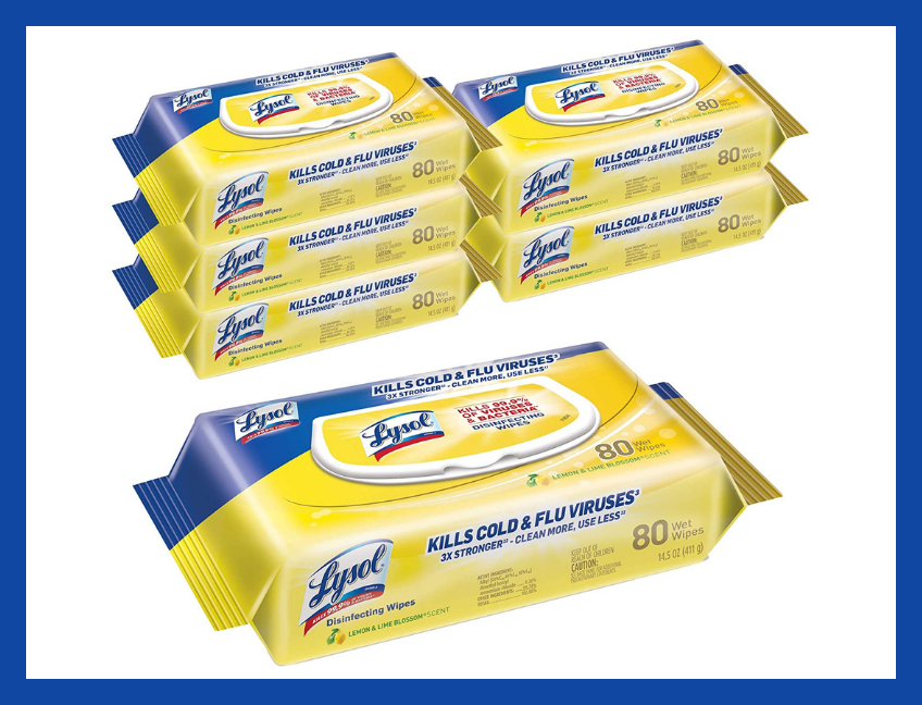 Lysol Disinfecting Handi-Pack Wipes, Lemon and Lime Blossom (480 Count). (Photo: Amazon)