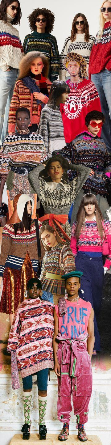 <p>Keep your après-ski in check with Fair Isle knits that just beg for a weekend in Aspen or Gstaad. Cropped or cardi, in classic shades or bright pinks and reds, these cozy knits pack a visual punch. It's statement sweater dressing for living that ski-in/ski-out life. Perhaps it's a nod to the intrinsic nature of socially distant slopes, or an embrace of a max exodus to the country. However you twist it, according to Miu Miu, Chanel, Balenciaga, and Junya Watanabe, next season is all about that cozy ski sweater life.</p><p><em>Pictured from top to bottom: Rag & Bone (First row), Molly Goddard, Junya Watanabe, MM6, Etro, Balenciaga, Paco Rabanne, Dsquared2, Rentrayage, Chanel, and Vivienne Westwood. </em></p>