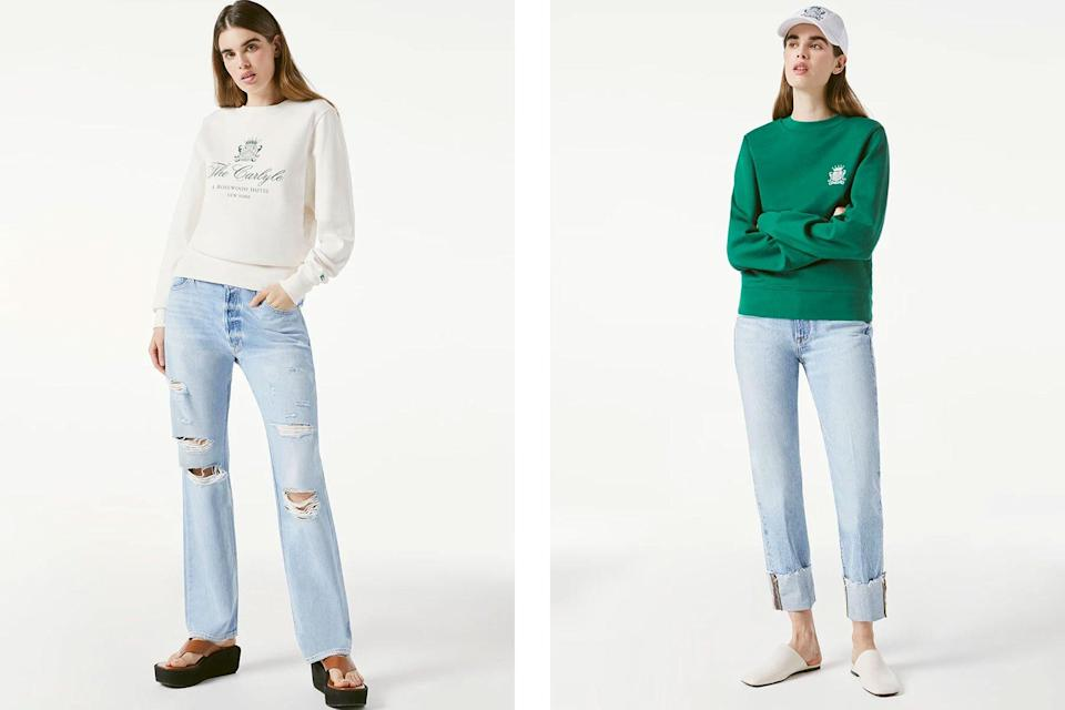 Women wearing off white and green crewneck sweatshirts and jeans