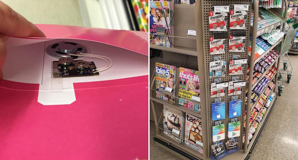 A card with a button battery inside is pictured left. On the right is a photo of batteries hanging on a supermarket display stand.