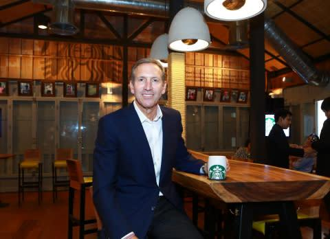 Howard Schultz, Starbucks chairman, president and ceo, celebrates 15 years in Thailand with partners ...