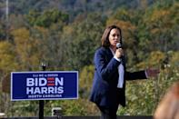 Democratic vice presidential nominee Kamala Harris addresses an early vote mobilization event at the University of North Carolina Asheville