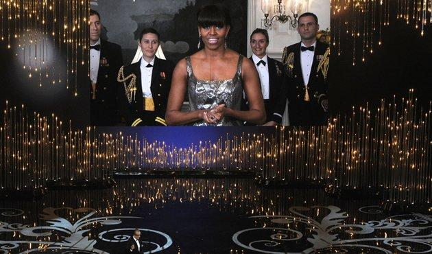 The real FLOTUS making her surprise appearance at the Oscars ceremony.