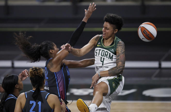 Atlanta Dream forward Cheyenne Parker, left, blocks a shot by Seattle Storm forward Candice Dupree (4) during the second half of a WNBA basketball game Friday, June 11, 2021, in College Park, Ga. (AP Photo/Ben Margot)