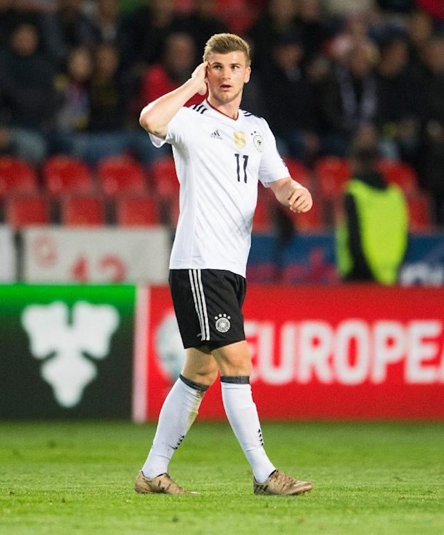 Germany's striker Timo Werner listens to fans' chants during their 2018 FIFA World Cup qualifier match against Czech Republic, in Prague, on September 1, 2017 (AFP Photo/ROBERT MICHAEL)