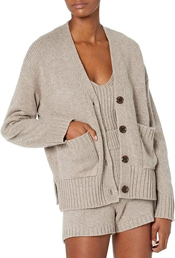 <p>This pretty <span>The Drop Brigitte Chunky Button Front Pocket Ribbed Cardigan</span> ($50) also comes in cream.</p>