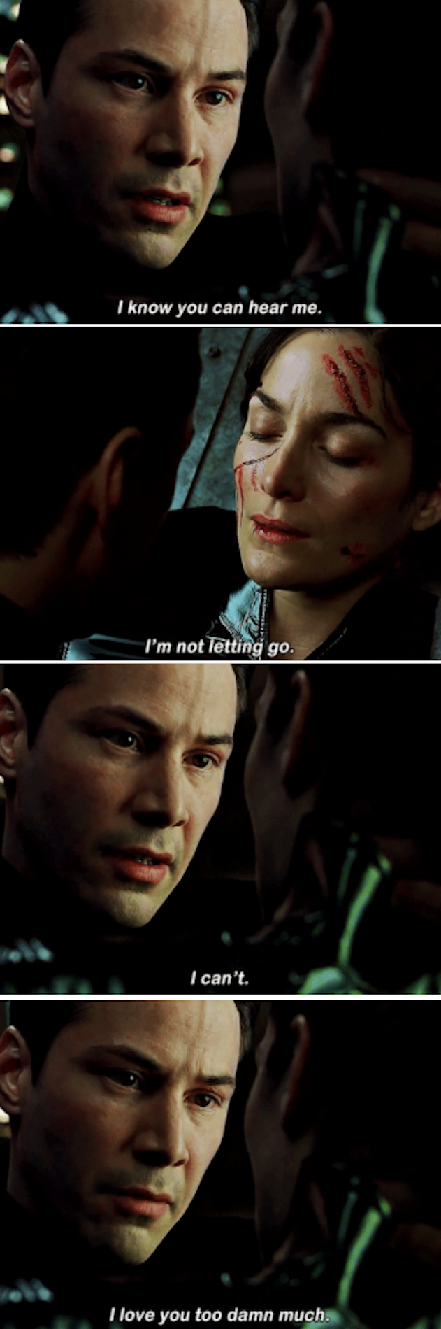 """Neo telling Trinity: """"I know you can hear me. I'm not letting go. I can't. I love you too damn much"""""""