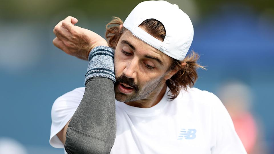 Seen here, Jordan Thompson look frustrated during a match at the 2021 US Open.