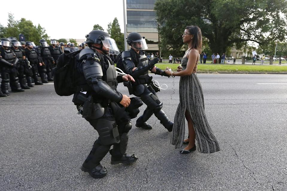 "<div class=""inline-image__caption""><p>A demonstrator protesting the shooting death of Alton Sterling is detained by law enforcement near the headquarters of the Baton Rouge Police Department in Baton Rouge, Louisiana, U.S. July 9, 2016. </p></div> <div class=""inline-image__credit"">Jonathan Bachman/Reuters</div>"