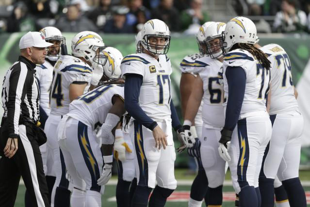 "The <a class=""link rapid-noclick-resp"" href=""/nfl/teams/lac/"" data-ylk=""slk:Los Angeles Chargers"">Los Angeles Chargers</a> need to win and get help to make the playoffs, so quarterback <a class=""link rapid-noclick-resp"" href=""/nfl/players/6763/"" data-ylk=""slk:Philip Rivers"">Philip Rivers</a> and Co. will be full systems go for fantasy lineups. (AP Photo/Seth Wenig)"