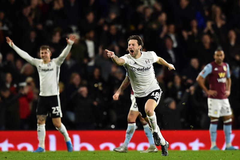 Fulham's Irish midfielder Harry Arter celebrates scoring their second goal. (Credit: Getty Images)