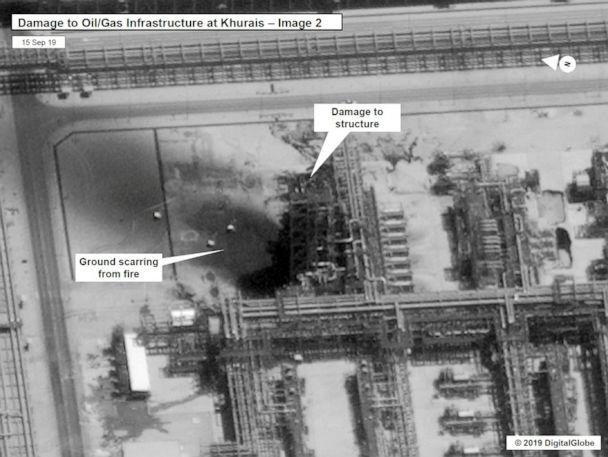PHOTO: A satellite image showing damage to Saudi Aramco infrastructure at Khurais, in Saudi Arabia in this handout picture released by the U.S Government September 15, 2019. (US Government/Handout via Reuters)
