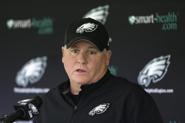 Philadelphia Eagles head coach Chip Kelly speaks with the media during NFL football practice at the team's training facility, Wednesday, Oct. 9, 2013, in Philadelphia. (AP Photo/Matt Rourke)