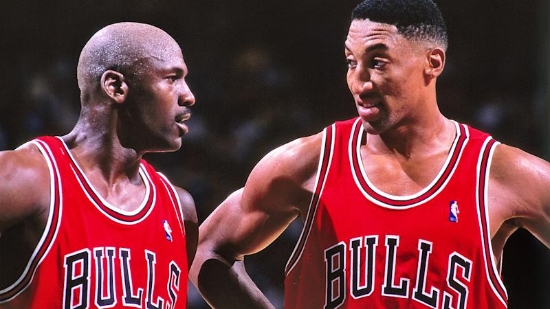 Michael Jordan and Scottie Pippen are pictured playing for the Chicago Bulls in 1998.