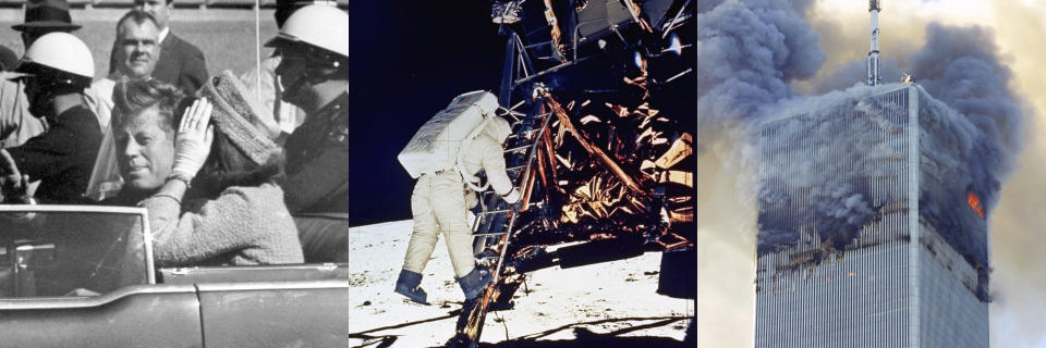 """President John F. Kennedy appears in a motorcade with his wife Jacqueline Kennedy in Dallas on Nov. 22, 1963, left, astronaut Edwin E. Aldrin, Jr., descends steps of Lunar Module ladder as he prepares to walk on the moon on July 20, 1969, center, and smoke billows from the north tower of New York's World Trade Center on Sept. 11, 2001 after terrorists crashed two hijacked airliners into the World Trade Center. A new podcast based on Joe Garner's 1998 book, """"We Interrupt This Broadcast,"""" narrated by Brian Williams, will be available on July 20. Episodes in the first season explore the Sept. 11, 2001 attacks, John F. Kennedy's assassination and the moon landing. (AP Photo/NASA via AP/AP Photo)"""