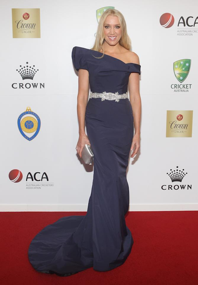 MELBOURNE, AUSTRALIA - FEBRUARY 27:  Rianna Ponting arrives atvthe 2012 Allan Border Medal Awards at Crown Palladium on February 27, 2012 in Melbourne, Australia.  (Photo by Lucas Dawson/Getty Images)